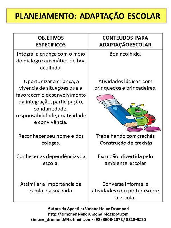 Atividades Para O Ensino Infantil Planejamento Adaptacao Escolar Por Sim Relatorios Educacao Infantil Projeto Educacao Infantil Planejamento Educacao Infantil