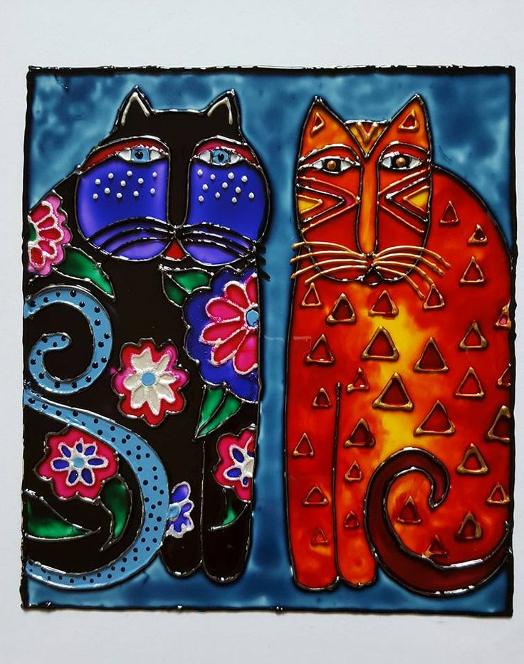 Cats (glass paint)
