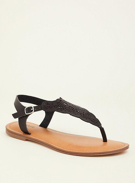 313c57307cb68e Black Laser Cut T-Strap Sandal (Wide Width)