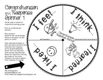 Character and Comprehension Spinners for K-1st Common Core I love my K's! This is a great little spinner for teaching Ks and 1st graders how to think about their reading. Comes with 2 spinners with 8 sheets for each spinner. Great for centers and holding students accountable for what they read. $8.00