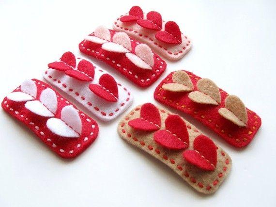 etsy - felt heart barrettes