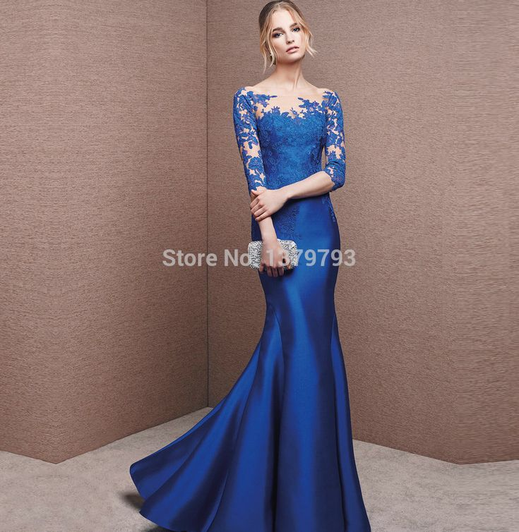 Aliexpress.com : Buy Elegant Sheer Illusion Neckline Long Mermaid Evening Dresses Soft Royal Blue Lace Applique Three Quarter Special Formal Gown from Reliable dress ocean suppliers on MonaLisa Fashion Dream Dress Store