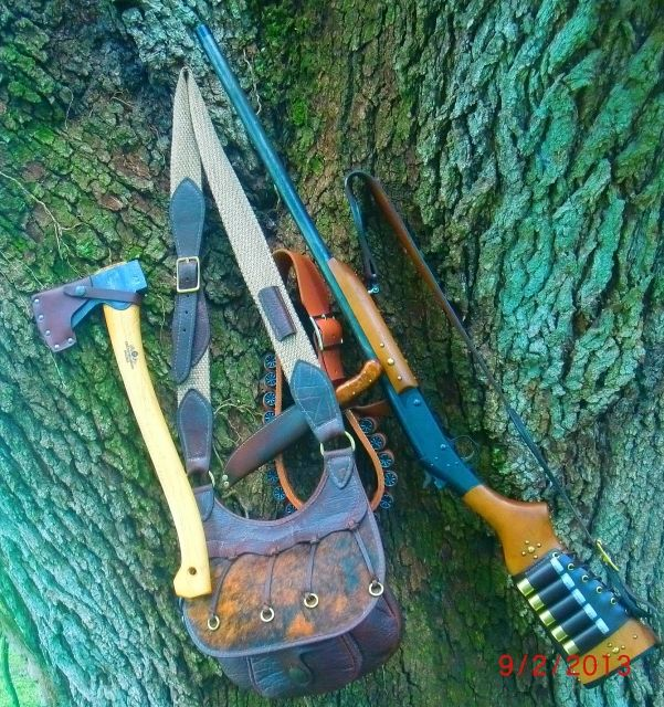 "Modified H&R Pardner single shot shotgun, Galco Western Leather Shot Belt, Gransfors Bruks small forest axe and Large 11"" x 10"" gamekeepers bag (Possibles Bag) from TrackoftheWolf.com"