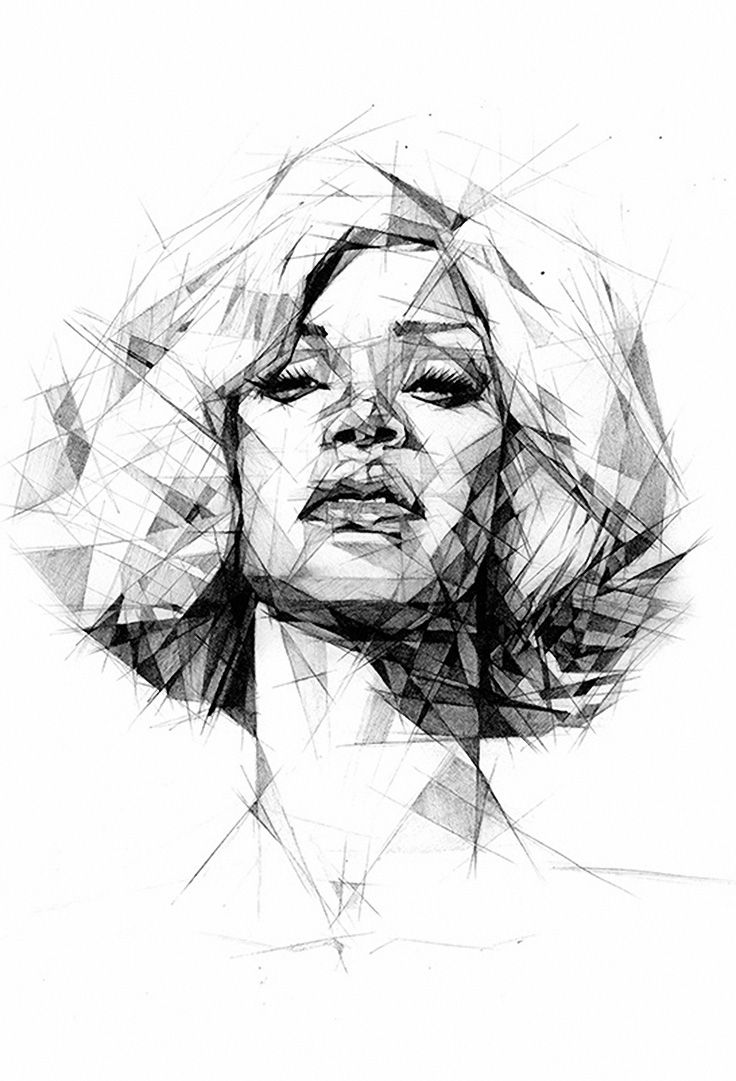 """Rihanna"" by Dave Merrell, geometric portrait drrawing"