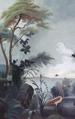 Ananbô Le jardin au Flamant Rose Papier peint panoramique