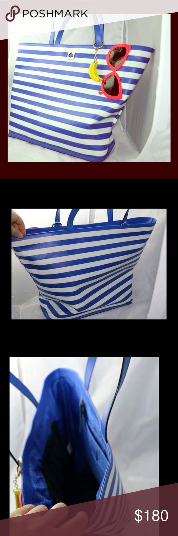 Make A Splash Kate Spade Beach Bag Kate spade mint condition never used beach bag with brand new never used Banana leather  Key chain added. Color blue and white stripe. Sunglasses embroidered. Very deep. Open top tote. Interior zipper pockets. Bottom unzips with sand sifter. 14 karat gold plated hardwear. Imported. Style wkru3721 canvas with lacquer coating and leather trim. kate spade Bags Totes