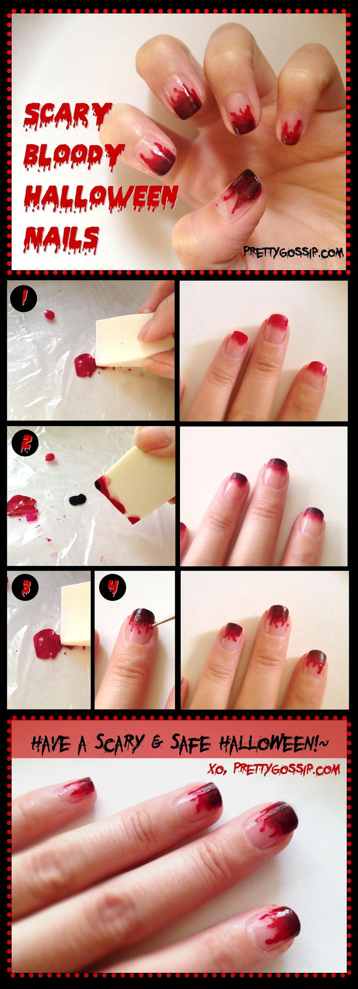 DIY Halloween Nails : DIY Scary & Bloody Halloween Nail. maybe with green/black for costume?