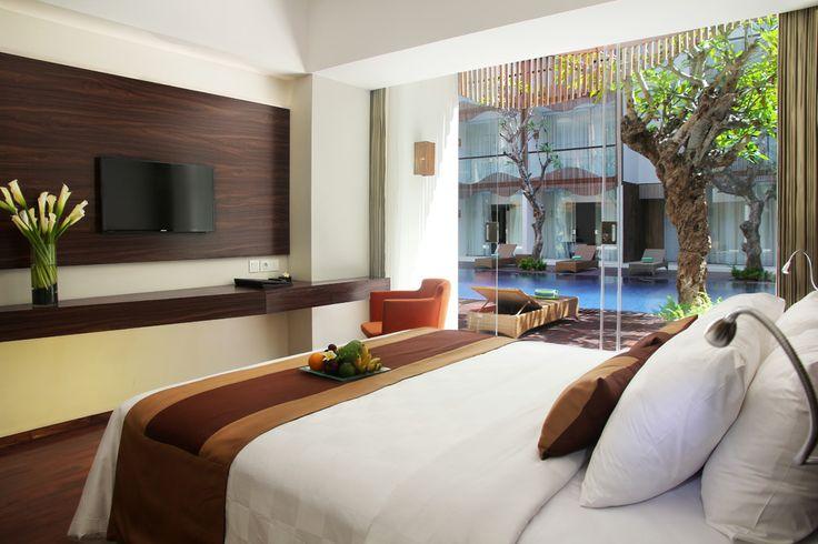 King Bedroom of Pool Access Room at The Bene. #balihotels #bali #hotel #kuta http://www.thebenehotel.com/