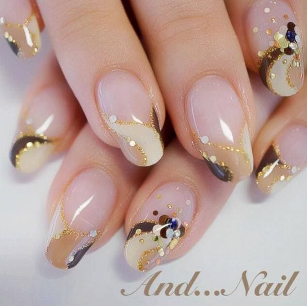 # NAILS - NUDE, GOLDEN BROWN & WHITE ****