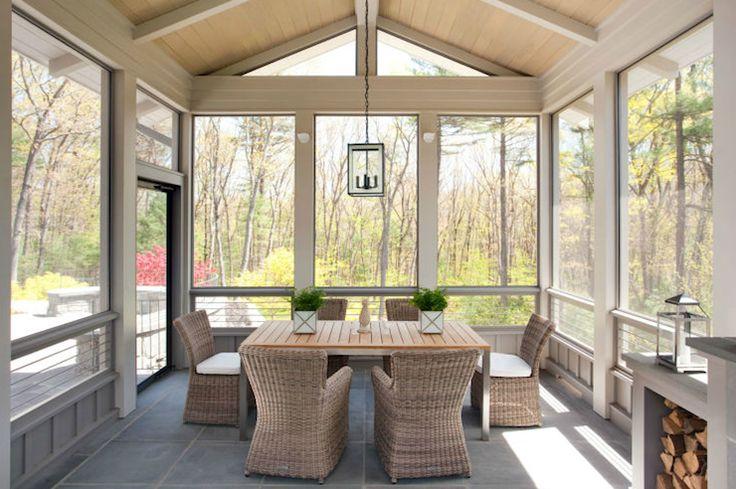 Liz caan interiors enclosed patio with wood plank vaulted for Arredare veranda chiusa