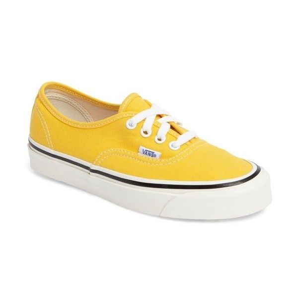 Women's Vans Authentic 44 Dx Sneaker ($75) ❤ liked on Polyvore featuring shoes, sneakers, yellow, vans sneakers, low profile shoes, yellow sneakers, vans footwear and vans trainers