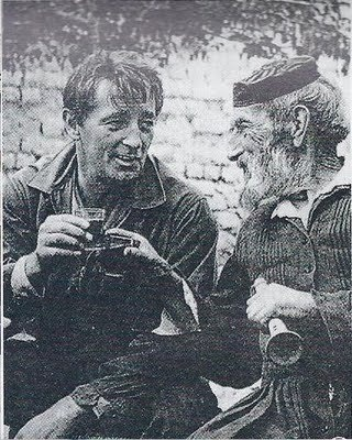 Robert Mitchum, drinking with his Greek friend Tselepis, in Arahova,near Athens,Greece,summer 1959 (during shootings of the film ''Angry Hills'') #outdoorsgr