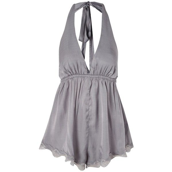 Silver Playsuit by Somedays Lovin' (£48) ❤ liked on Polyvore featuring jumpsuits and rompers