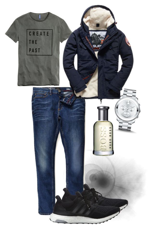 Mens fashion | casual by neeacamillaa on Polyvore featuring River Island, Superdry, adidas, Movado, BOSS Hugo Boss, mens, men, men's wear, mens wear and male