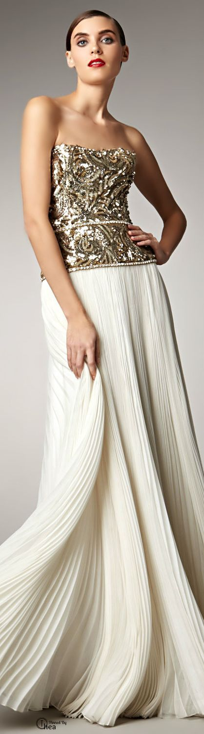 Marchesa Couture ● Cream Beaded Bodice Gown jaglady