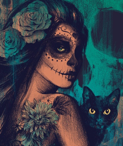 Dia de los muertos  Looks like my mom and her cat Maleficent <3