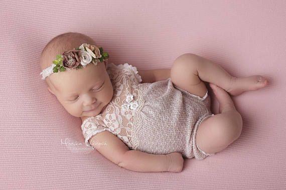 Newborn Girl Romper Nude Lace Romper Newborn Outfit