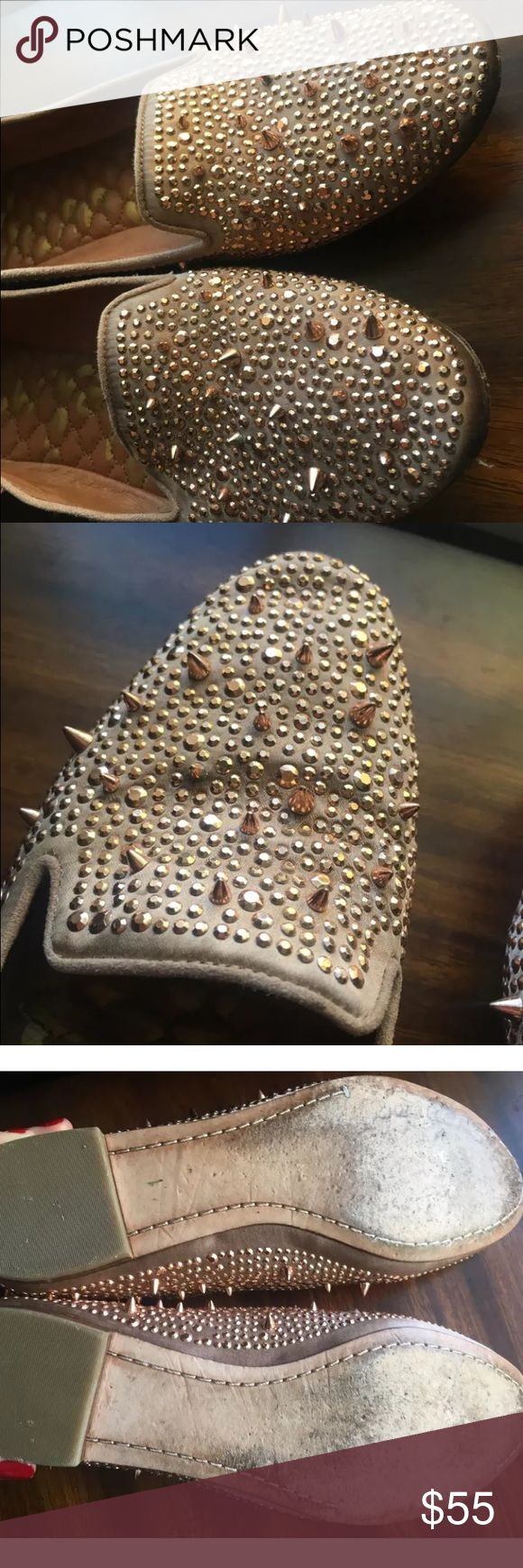 Sam Edelman Gold Studded Loafers Used but in good condition Sam Edelman Loafers. Covered in gold spikes with quilted inside. Bottom is worn but tops in good condition. Worn by Ashley Tisdale. Sam Edelman Shoes Flats & Loafers