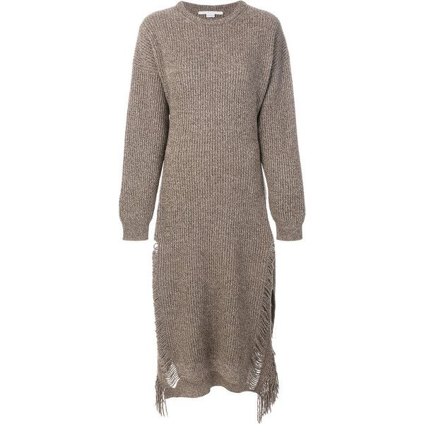 Stella McCartney knitted fringe dress ($985) ❤ liked on Polyvore featuring dresses, stella mccartney, stella mccartney dresses, brown long sleeve dress, formal wear dresses and brown formal dresses