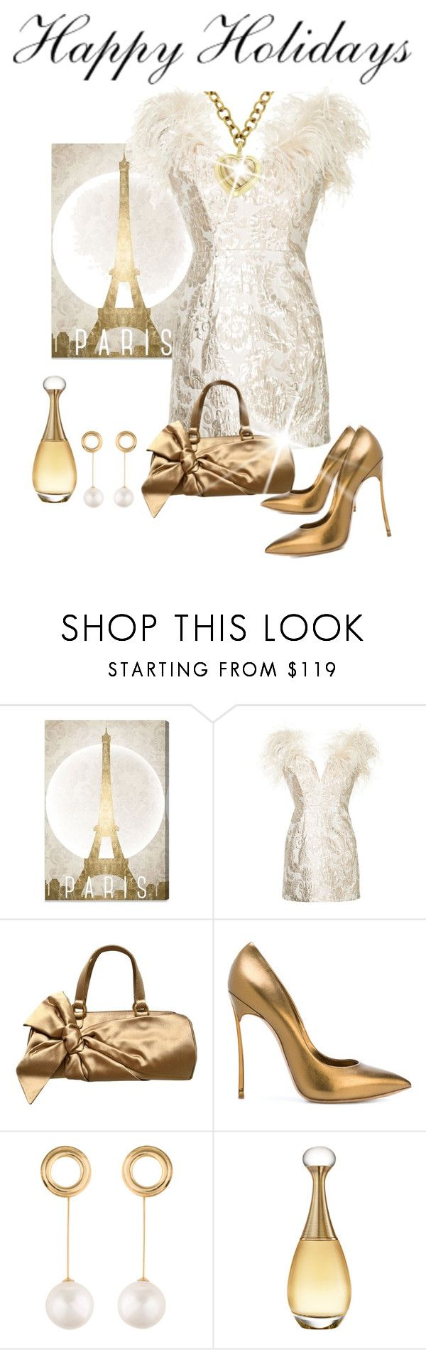 """""""Winter White and Antique Gold"""" by shamrockclover ❤ liked on Polyvore featuring Oliver Gal Artist Co., Alice McCall, Valentino, Casadei, Joanna Laura Constantine, Christian Dior, David Yurman, dress and cocktaildress"""