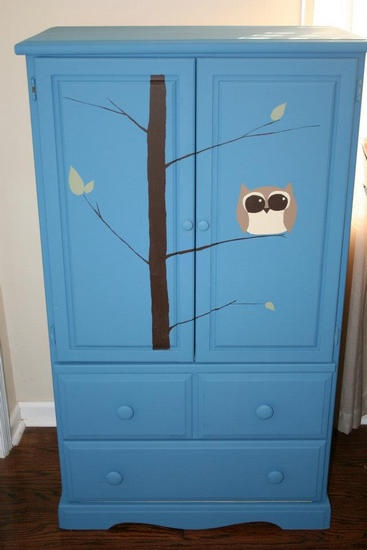 Child's armoire, baby room, boy, blue, furniture upcycle, Anew Nature, owl
