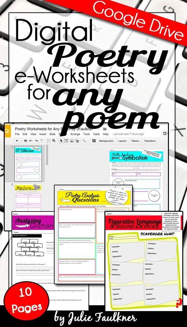 Digital Poetry eWorksheets Analysis & Comprehension for Any Poem, Google Drive