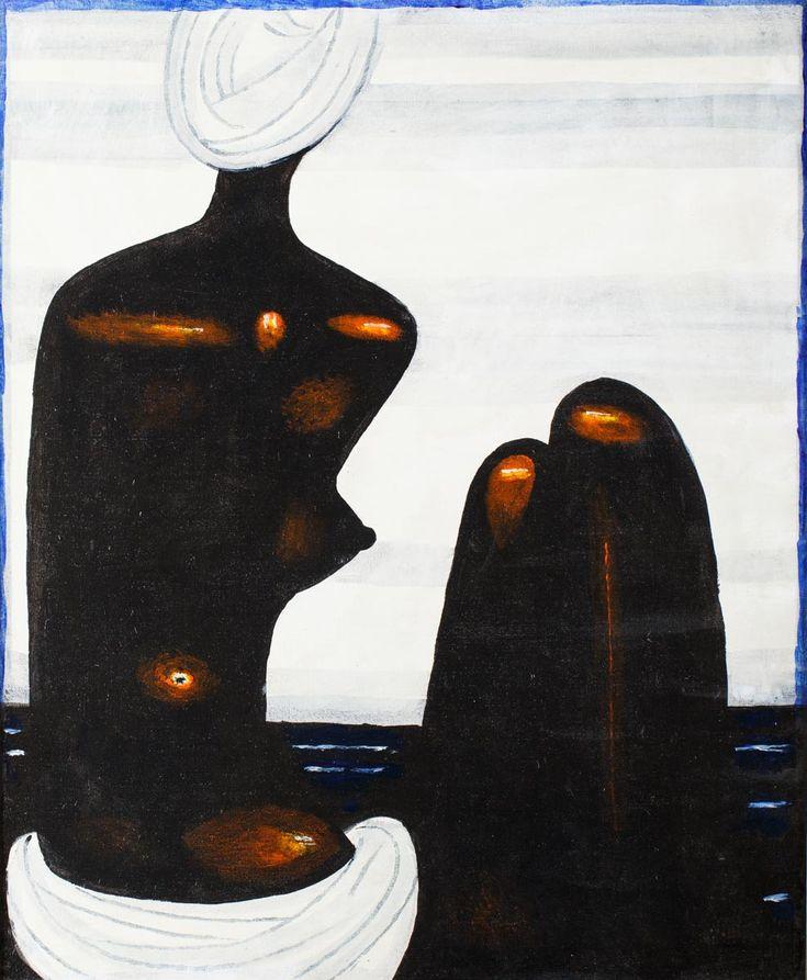 JERZY NOWOSIELSKI (1923 - 2011)  CZARNA PŁYWACZKA   olej, płótno; / 85x70 cm
