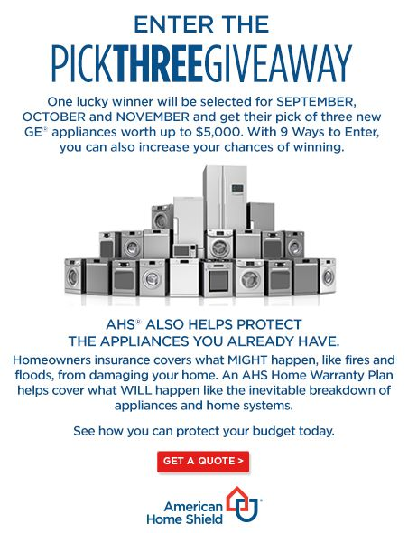 Win $5000 worth of GE Appliances from American Home Shield #YP3sweepstakes #ad - ENDS Nov 28