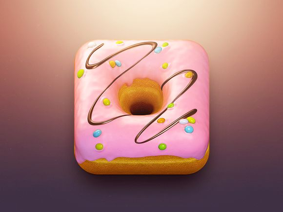 Donut App Icon by CreativeDash. 18 Mouthwatering Food #App #Icons