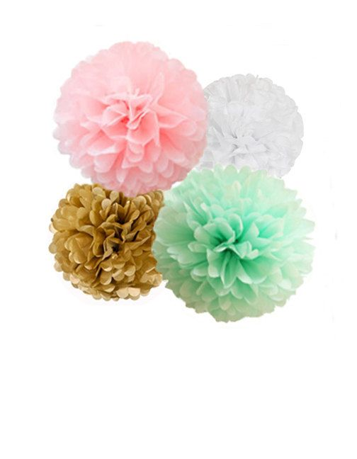 Mint, Pink & Gold Tissue Paper Pom Poms 4 Piece Set - Weddings - Bridal Shower - Decorations - Birthday - Nursery - Party Decorations