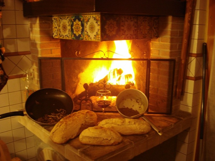 our homemade bread with natural heast  Il nostro pane fatto in casa con lievito madre  A glass of red wine and lenticchie