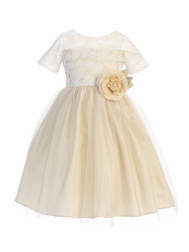 091805d4bcf Sweet Kids SK742 Champagne Soft Spring Jasmine Lace Tulle Dress Champagne  Flower Girl Dresses