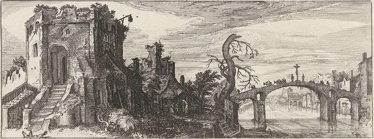Jan van de Velde (II) | Landschap met een brug en een ruïne, Jan van de Velde (II), 1615 | Landschap met een stenen brug en een ruïne. Veertiende prent uit een serie van achttien.