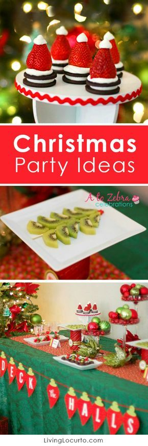 Easy Christmas Party Ideas with fun food appetizers and desserts for an ornament exchange party. Strawberry Santa Hats and Christmas Tree Fruit.