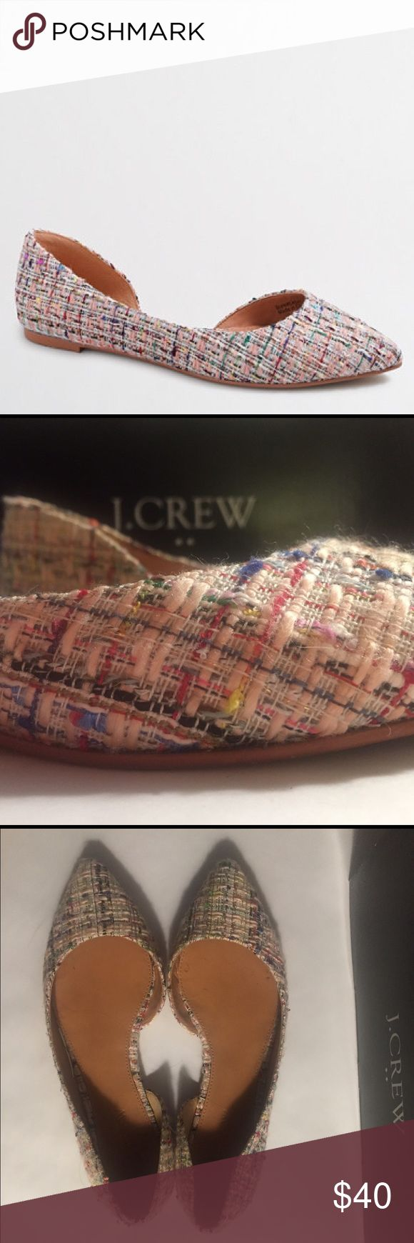 J. Crew Mixed Tweed Classic D'Orsay Flats Spring cleaning clear out!   J. Crew Factory d'orsay flats   Size: 7   Tweed upper   Leather sole   Only worn a handful of times, in like new condition   Comes in original box! J. Crew Shoes Flats & Loafers