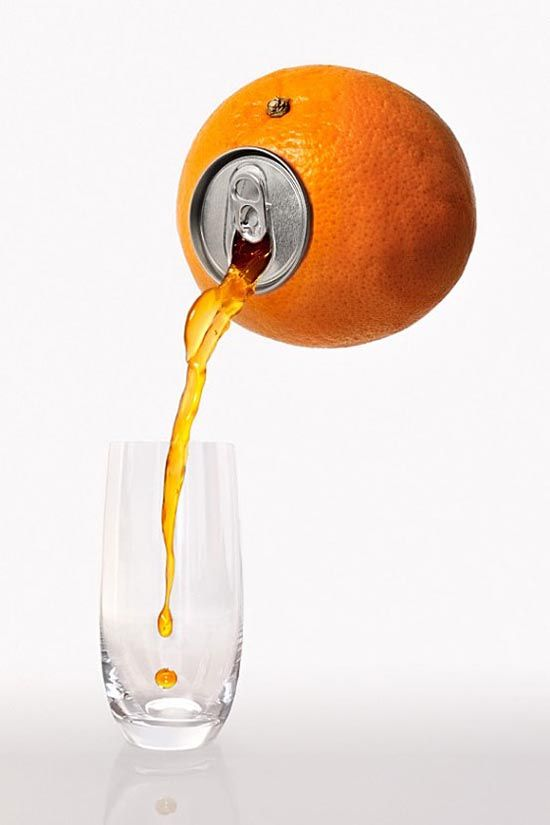 Creative idea, love what they did with the can. Oranges in this really stand out agianst the white, looks fancy but yet to the point