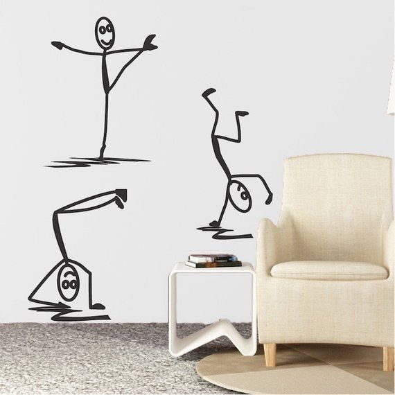 Modern Stick Figure Men Decals Stick Man Decal Funny Wall Decal