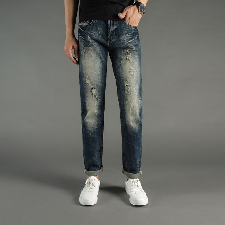 24.95$  Buy here - http://ality0.shopchina.info/1/go.php?t=32817420059 - Fashion Streetwear Mens Jeans Retro Design Slim Fit Ripped Jeans Men Casual Pants DSEL Brand Vintage Classic Denim Biker Jeans  #bestbuy