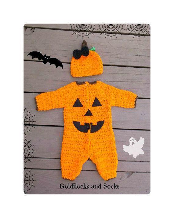Baby Halloween costume crochet pumpkin by GoldilocksandSocks