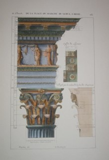 "columns and capitals IV italian contemporary hand coloured engraving   9 x 14"" $110"