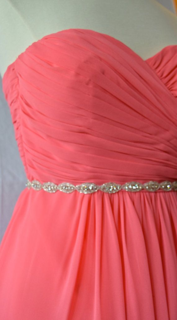 Rhinestone trim to add to your Maid of Honor's dress to make her stand out.  Just have her tie in a bow, or sew the trim directly to the dresss when she is getting it altered   Bridal Belt High Quality Crystal by EYM Bridal designs on Etsy.   thin rhinestone belt
