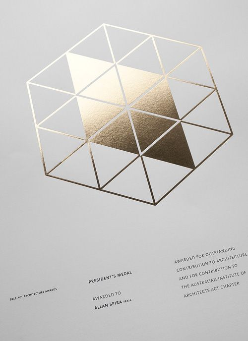 Award certificate design for the ACT Chapter of the Australian Institute of Architects | Design by Pidgeon