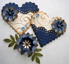 Vintage Heart Embellishment Set . Blue Subtle by KindrasCreations