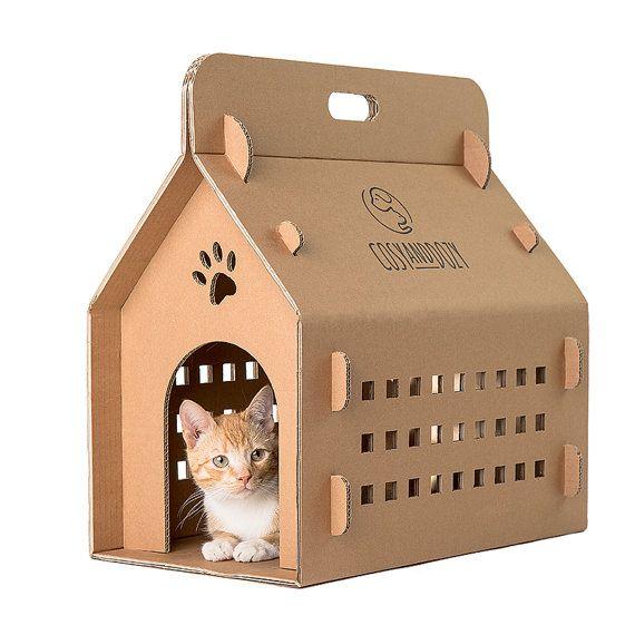 Caja de cartón, gato portador de gato, eco llevar caja, casa gato, la cama del gato, transporte de gato, muebles del gato, Cueva del gato,…