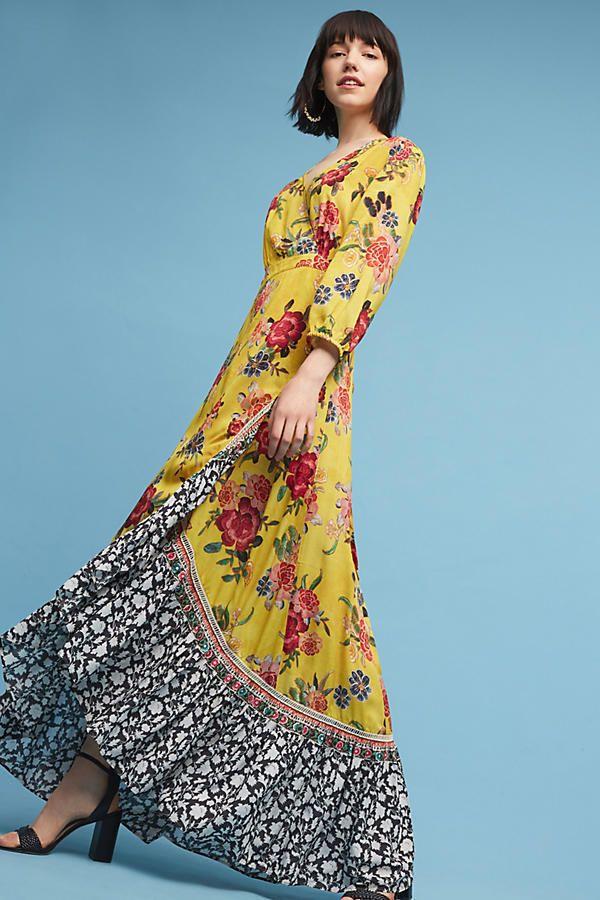 4e7232ad NWT Anthropologie Sunlit Floral Maxi Wrap Dress by Farm Rio Sz XS NWT  #FarmRioatAnthropologie #MaxiDressWrapDress