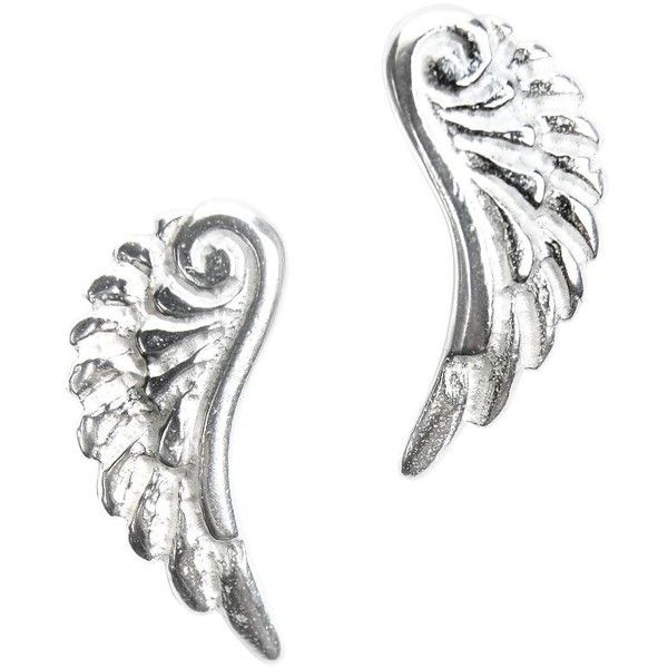 Dower & Hall Silver Angel Wing Stud Earrings ($51) ❤ liked on Polyvore featuring jewelry, earrings, silver stud earrings, angel wing stud earrings, silver earrings, angel wing jewelry and silver angel wing earrings