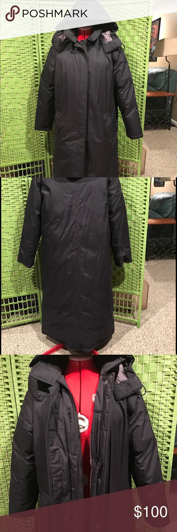 """Lands End Coat Lands End Down Coat, Black, Size XL (14/16), length is long (I'm 5'5"""" and it touches my calf).. brand new without tags, bought at the outlets but never wore it.. has 2-way zipper and buttons, snap off removable hood, 4 pockets inside and 2 pockets outside Lands' End Jackets & Coats Puffers"""