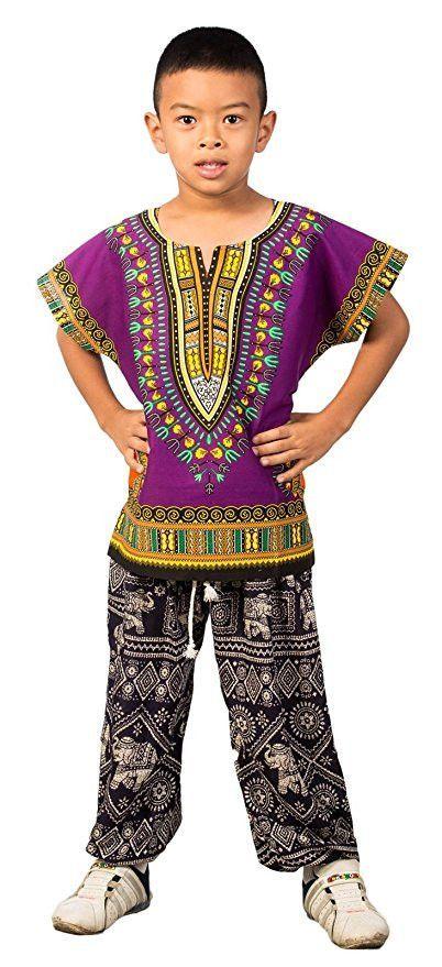 Kids African Dashiki Shirt - Purple
