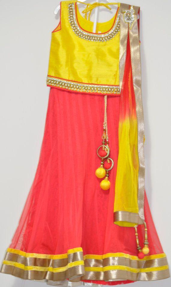 Kids Orange Net Lehenga with Yellow Pure silk Choli Blouse - Designer Langa Pavada by LaxmiFashions