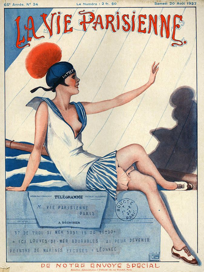 France La Vie Parisienne Magazine Drawing  - 1927